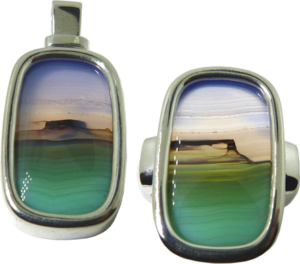 Matching 14K white gold pendant and ring with beautiful Picture Agate