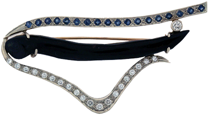 Brooch With Black Coral, Diamonds And Gemstones