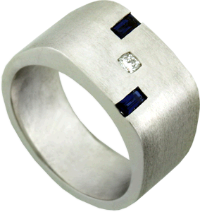 14K Brushed White Gold Gent's Wedding Band with Hearts On Fire® Dream® Cut Diamond and Two Sapphires