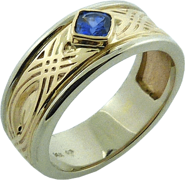 Grad Ring With Celtic Design And Cushion Cut Sapphire