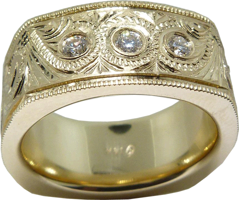 Gold And Diamond Men's Ring Inspired By Cowboy Belt Buckle