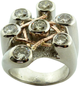Diamond Lady's Ring with Star Design