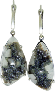 Druzy Agate with Titanium Plating Earrings