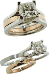 Firemark Princess Cut Diamond Engagement Set