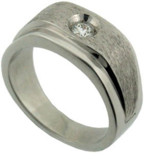 Gent's 18K White Gold Wedding Band with Hearts On Fire® Diamond