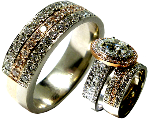 Diamonds Set In Rose Gold Wedding Band Created To Match A Custom Engagement Ring