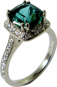 Green/Blue Tourmaline surrounded by Hearts On Fire® Diamonds
