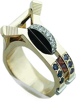 Hockey Theme Lady's Ring With Alexandrite, Sapphires And Garnets With Hearts On Fire® Ideal Round Diamonds