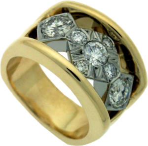 Custom Designed Lady's Band with 18K Yellow Gold and 19K White Gold
