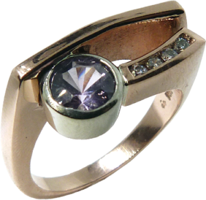 Light Mauve Sapphire with Diamonds Ring