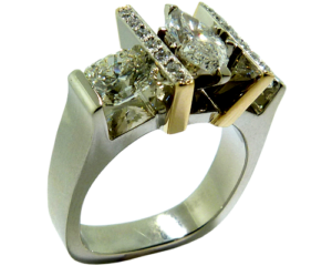 Marquis cut and Hearts On Fire Diamond gold ring