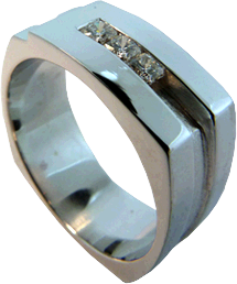 Men's Ring with Three Hearts On Fire® Dream® Cut Diamonds