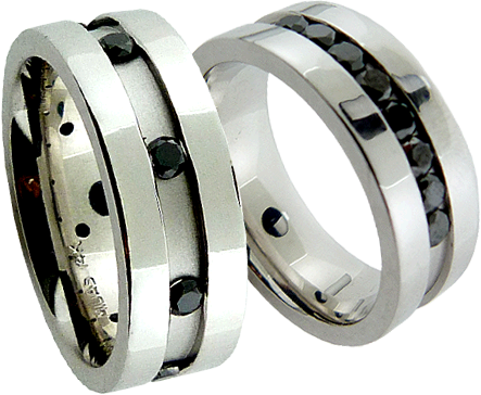 Men's Wedding Bands With Channel Set Black Diamonds