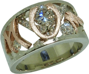 Mother's Day Ring with Diamonds and Textured Gold