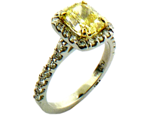 Natural yellow diamond platinum engagement ring