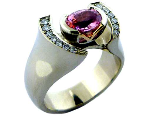 Padparadscha Sapphire In A Custom Made Ring