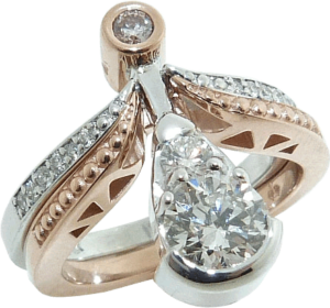 Rose Gold Diamond Ring in Pear Shape