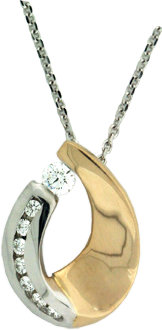 14K White And Yellow Gold Pendant With Hearts On Fire® Diamonds