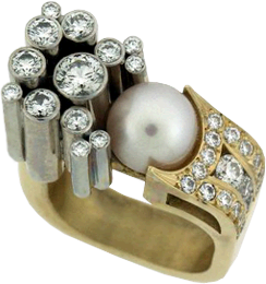 Pink White Pearl surrounded with Hearts On Fire® Diamond Ring