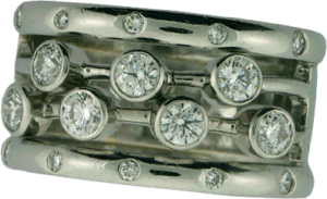Platinum Ring with Gypsy and Bezel Set Hearts On Fire® Diamonds