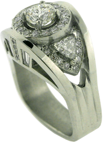 Platinum Ring With Trilliant, Baguette And Ideal Cut Diamond From Hearts On Fire®