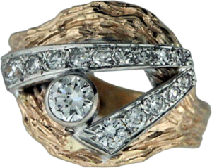 Redesigned lady's ring - gold textured shank with diamonds