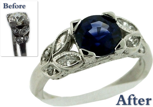 Antique Engagement Ring Redesign With Marquis Diamonds And Sapphire