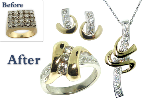 Old Fashioned Men's Ring Converted Into A Diamond Ring, Pendant, And Matching Earrings Set