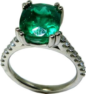 3 carat cushion cut emerald ring with Hearts on Fire® accent diamonds