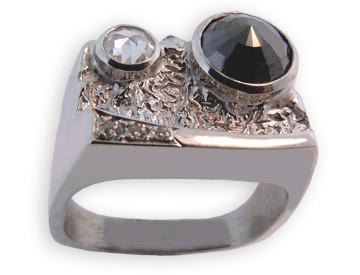 Reticulated Gold Base With One Black, And One White Rose Cut Diamonds
