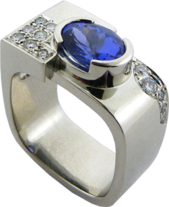 Semi-bezel set oval tanzanite and diamonds ring