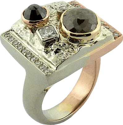 Textured White And Rose Gold Ring With Various Diamonds