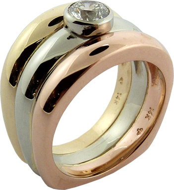 Three Colour Gold Ring With Hearts On Fire® Diamond