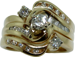 Two Matching Wedding Bands with Channel Set Diamonds