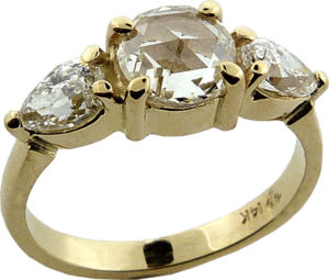 Vintage Yellow Gold Engagement Ring with Diamonds