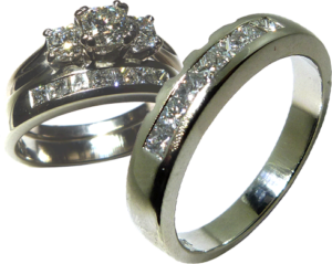 Wedding ring design with cut outs to be worn with engagement ring