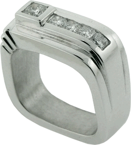 14K White Gold Gent's Ring with Hearts On Fire® Dream® Cut Diamonds