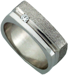 14K White Gold Gent's Wedding Band with Dream® Cut Hearts On Fire® Diamond