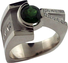 White Gold Ring with a Green Tsavorite Garnet, Hearts On Fire® Pave and Gypsy Set Diamonds
