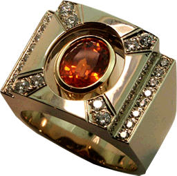 18K White Gold Ring with Hearts On Fire® Diamonds and a Spessartite Orange Garnet
