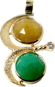 Yellow Gold Pendant with a Green Chalcedony and Yellow Sapphire