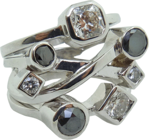Hearts On Fire® Diamond & Black Diamond Ring