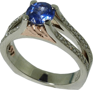 Blue Sapphire Engagement Ring with Mountain Motif