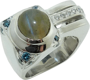 David's New Cabochon Pinky Ring with Hearts on Fire® Accent Diamonds
