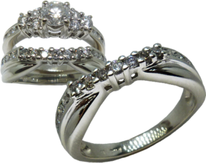 Contoured wedding band with channel set diamonds