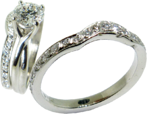 Curved Wedding band with Diamonds