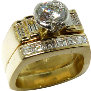 Baguette and bezel set diamond ring with a Hearts on Fire® center cut diamond