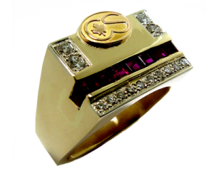 Diamond and Ruby men's ring