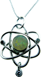 Atomic Element Pendant with Diamonds and Birthstone Opal
