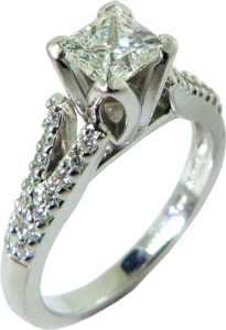 Split Shank engagement ring with a FireMark® princess cut diamond